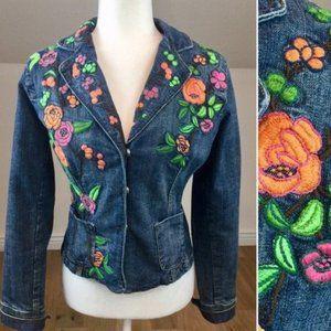 Vintage 90's Floral Embroidered Jean Jacket
